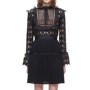 Self-Portrait | Adeline black lace mini dress